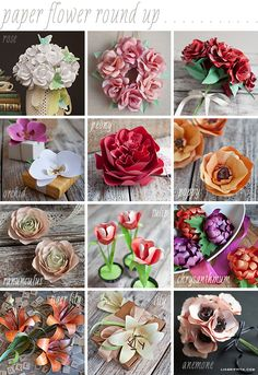 Paper Flower Round Up!  Some really amazing tutorials and paper flower inspiration.