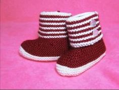 Baby Booties for Cold Weather: Free Knitting Pattern Free Baby Knitting Pattern! Boot Style Red and White Baby Booties for Cold WeatherFree Baby Knitting Pattern! Boot Style Red and White Baby Booties for Cold Weather Baby Booties Knitting Pattern, Knit Boots, Crochet Baby Booties, Baby Knitting Patterns, Knitting Socks, Free Knitting, Knitted Baby, Crochet Hats, Baby Pullover