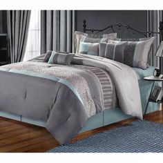 Chic Home Euphoria Embroidered Comforter Set, King,Grey: Transform your bedroom decor with the Euphoria Grey Teal Embroidered 8 Piece King Size Comforter Set. Comforter Sets, Bed Comforters, Home, Chic Home, Blue And Grey Bedding, Grey Bedding, Luxury Bedding, Bedding Sets, Bedroom