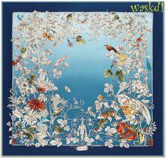 "GUCCI blue WONDERGARDEN flowers & birds CREST logo silk 35"" Scarf NWT Authentic #Gucci #Scarf"