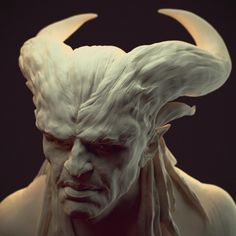 """""""Qunari was an experiment merging realism and fantasy. Inspired by the characters from Dragon age. All was sculpted in ZBrush and rendered in Maya with Vray"""" Dark Fantasy Art, Dark Art, Sculpture Art, Sculptures, Statues, Ange Demon, Cg Artist, Creature Concept, Angels And Demons"""