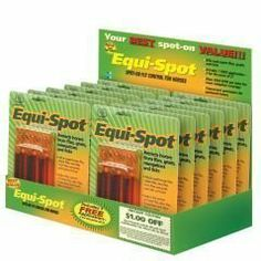Equi Spot - 3 Treatments [Misc.] by Equi-Spot. $22.40. Packaged with three 10-mL tubes per blister pack.. Equi-Spot kills and repels house flies, stable flies, face flies, horn flies, eye gnats, and ticks, and helps control horse flies, deer flies, mosquitoes and black flies. Citronella scented, sweat-resistant formula. Contains permethrin, 45.0% and oil of citronella, 33.2%.