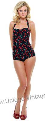 Vintage Inspired Swimsuit 50's Black Cherry Print