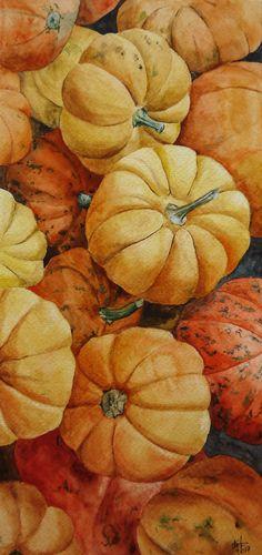 Watercolor pumpkins autumn still life