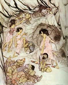 """This one is fat,"" said Cuillan, and she rolled a bulky Fenian along like a wheeI. -- Irish Fairy Tales, The Enchanted Cave of Cesh Corran: This One is Fat, Arthur Rackham."