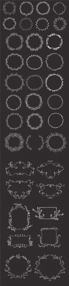 Hand drawn wreaths and frames « Freebies PSD Mehr Chalkboard Lettering, Chalkboard Designs, Chalk Fonts, Chalkboard Ideas, Chalk It Up, Chalk Art, Wreath Drawing, Clip Art, Art Boards