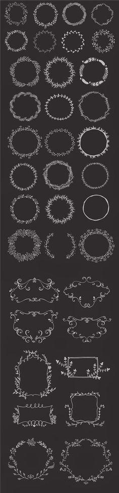 Hand drawn wreaths and frames | Freebies PSD
