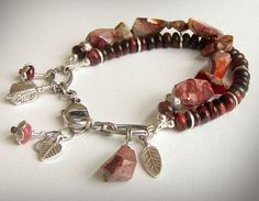 Mexican Fire Opal Bracelet, Red Tiger Eye Double Strand by jQjewelrydesigns via Etsy