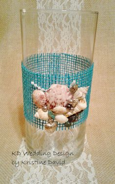 Wedding Centerpiece. Tropical/Coastal Theme Vase. Shell
