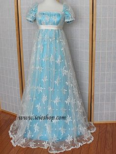 Regency Style Ice Blue White Lace Overlay Ball Gown