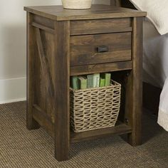 Inspired by the farmhouse style, this durable Altra Furniture Farmington Night Stand in Century Barn Pine adds a unique touch to your space. Pallet Furniture, Rustic Furniture, Bedroom Furniture, Home Furniture, Furniture Design, Bedroom Decor, Antique Furniture, Western Furniture, Furniture Outlet