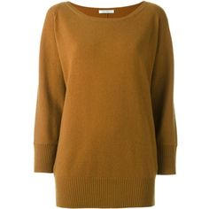 Max Mara cashmere bat-wing sleeve jumper (6.930 NOK) ❤ liked on Polyvore featuring tops, sweaters, brown, brown sweater, maxmara, wool cashmere sweater, jumper top and cashmere jumpers