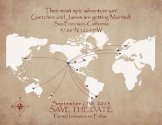 Destination Wedding World Map Save the Date Card by mysweetiepie Save The Date Maps, Wedding Save The Dates, Save The Date Invitations, Wedding Invitations, Invitation Ideas, Typography Invitation, Destination Wedding, Wedding Planning, Lake Tahoe Weddings