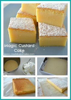 Magic Custard Cake - Create Bake Make Magic Cake Recipes, Delicious Cake Recipes, Easy Cake Recipes, Yummy Cakes, Sweet Recipes, Baking Recipes, Egg Custard Recipes, Custard Desserts, Vanilla Magic Custard Cake