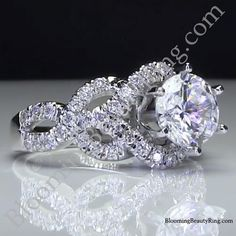 6 Prong Beautiful Crossover Pave Set Designer Engagement Ring Laying Right