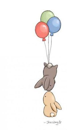 "Jess Wong, ""Fly"" More – Zeichnung , Kritzeleien und mehr Bunny Art, Cute Bunny, Lapin Art, Dibujos Cute, Animal Tattoos, Cute Illustration, Balloon Illustration, Easy Drawings, Nursery Art"