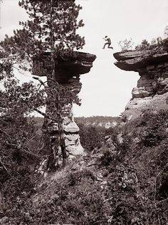 """H. H. Bennett's """"Leaping the Chasm"""" at Stand Rock, Wisconsin Dells by Wisconsin Historical Images, via Flickr"""