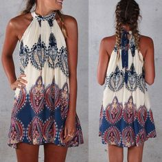 Boho Sexy Women Sleeveless Party Evening Cocktail Summer Beach Short Mini Dress in Clothing, Shoes & Accessories, Women's Clothing, Dresses   eBay