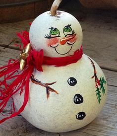 Gourd Snowman w Simple Country Charm by BarnsandVines on Etsy, $10.00