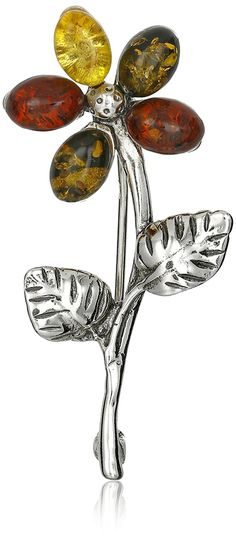 Sterling Silver and Multicolor Amber Flower Pin >>> Details can be found by clicking on the image.