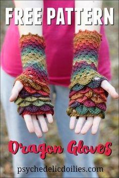 Ravelry: Dragon Gloves pattern by Jessica Bowman Crochet Mitts, Crochet Gloves Pattern, Crochet Gratis, Free Crochet, Knit Crochet, Knitting Patterns, Crochet Patterns, Dragon En Crochet, Crocodile Stitch