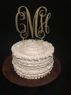 Wood Monogram Cake Topper