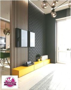 wall & ceiling inspiration Inspiration of a room including beautiful accessories, lighting and furniture. Lounge Design, Sofa Design, Interior Design, Living Room Tv, Home And Living, Tv Wanddekor, Wood Slat Wall, Vintage Bathroom Decor, Room Partition Designs