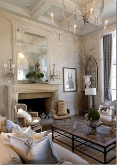 Get the look of a gorgeous French Country living room at kathykuo.com.: