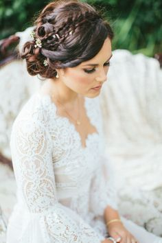 Braids, twists and baby's breath: http://www.stylemepretty.com/little-black-book-blog/2015/01/27/whimsical-vintage-rancho-buena-vista-adobe-wedding/ | Photography: Aga Jones - http://blog.agajonesphotography.com/