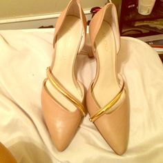 Beige shoes with gold metal strap Brand new Aldo shows I wore them once for 10 minutes for a picture, super cute! ALDO Shoes