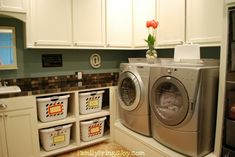 Laundry Room System: Teach your children and your husband 1.) how to sort, 2.) throw the clothes into the machine, 3.) where & how much detergent to add, 4.) which button to push and the machine does the rest!