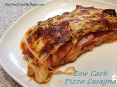 "Pizza Lasagna Casserole - low carb, keto (ketogenic diet) and gluten free - ""The key really is to use the canadian bacon as the ""noodles"" and then layer with pizza sauce and your choice of toppings, plus two kinds of cheese."" - Net carbs = 6 grams for half of the recipe"