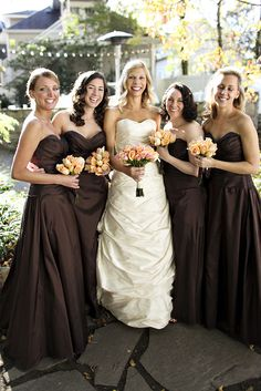 Brown Fall Bridal Dresses Brown Bridesmaids Dresses