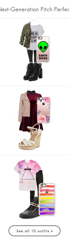 """""""Next-Generation Pitch Perfect"""" by tidesatmidnight ❤ liked on Polyvore featuring Topshop, L.L.Bean, Casetify, plus size clothing, Miss Selfridge, Charles by Charles David, IRO, Topman, Univibe and Giuseppe Zanotti"""