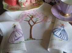"Pretty Vintage Embroidered Crinoline Lady Pink Blossom Tree Tray Cloth 12""x19"""