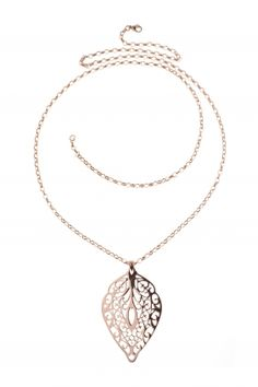 leaf I rose gold plated stainless steel necklace I designed for NEW ONE I NEWONE-SHOP.COM
