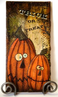 Trick or Treat Pumpkin Halloween Mixed Media Art. $50.00, via Etsy.
