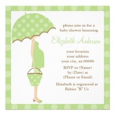 Green Mom To Be Baby Shower Invitations