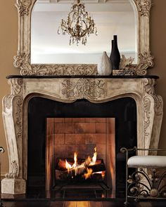 Stone Scroll Mantel Fireplace Screens, Home Fireplace, Fireplace Surrounds, Fireplace Design, Fireplace Mirror, Rumford Fireplace, Indoor Fireplaces, Fireplace Tools, Faux Fireplace