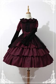Dark Fairy Tale*** Gothic Long Sleeves High Waist Woolen Lolita OP Dress