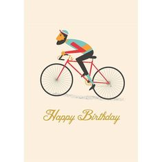 Le Bicycle Happy Birthday Card