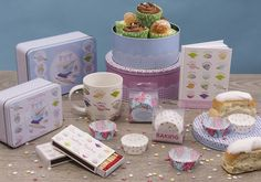 Baking Collection - Rectangular and Round Tins, A5 Notebook, Cupcake Cases, Matches and Bone China Mug