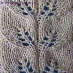 Узор для вязания спицами Полоска с листьями