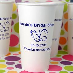 Personalized Bridal Shower Paper Cups by Beau-coup