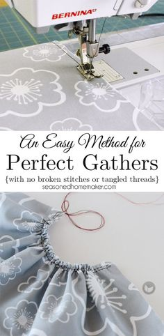 I have an easy way to Gather Fabric that will give you even gathers. Even better, you will not have any broken stitches or tangled threads. This easy way to gather fabric is a perfect sewing tip to remember when gathering a large strip of fabric for a ruffle.
