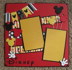 12 x 12 Disney Scrapbook Layout - Mickey Balloons scrapbook disney Ideas Scrapbook, Vacation Scrapbook, Disney Scrapbook Pages, Scrapbook Sketches, Scrapbook Page Layouts, Baby Scrapbook, Scrapbook Paper Crafts, Scrapbook Cards, Scrapbooking Ideas
