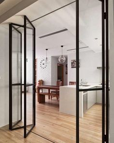 Over 70 Trendy interior design ideas for the whole apartment 2019 Porta Diy, Architecture Restaurant, Glass Room, Double Barn Doors, Double Glass Doors, Interior Barn Doors, Interior Sliding Glass Doors, Glass Barn Doors, Sliding Doors