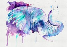 Elephant greetings card birthday card anniversary from original handmade watercolour.