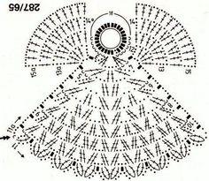 Angel to crochet pattern included ~ lodijoella Crochet Angel Pattern, Crochet Angels, Crochet Motifs, Crochet Diagram, Crochet Chart, Thread Crochet, Filet Crochet, Crochet Patterns, Crochet Christmas Ornaments