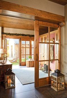 Hallway of the house with sliding doors. Hallway with wooden doors Style At Home, Japanese Bedroom, Interior Barn Doors, Design Case, Wooden Doors, Home Fashion, My Dream Home, Home And Living, Future House